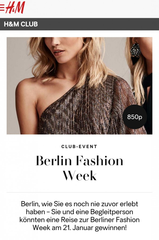 H&M Club, Berlin Fashion Week, H&M, H&M Angebot, Club-Event, Gewinnspiel Berlin Fashion Week