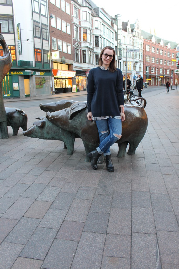 Destroyed Jeans, Fashionblog Bremen, Sweater, Casual Look, Layer Look