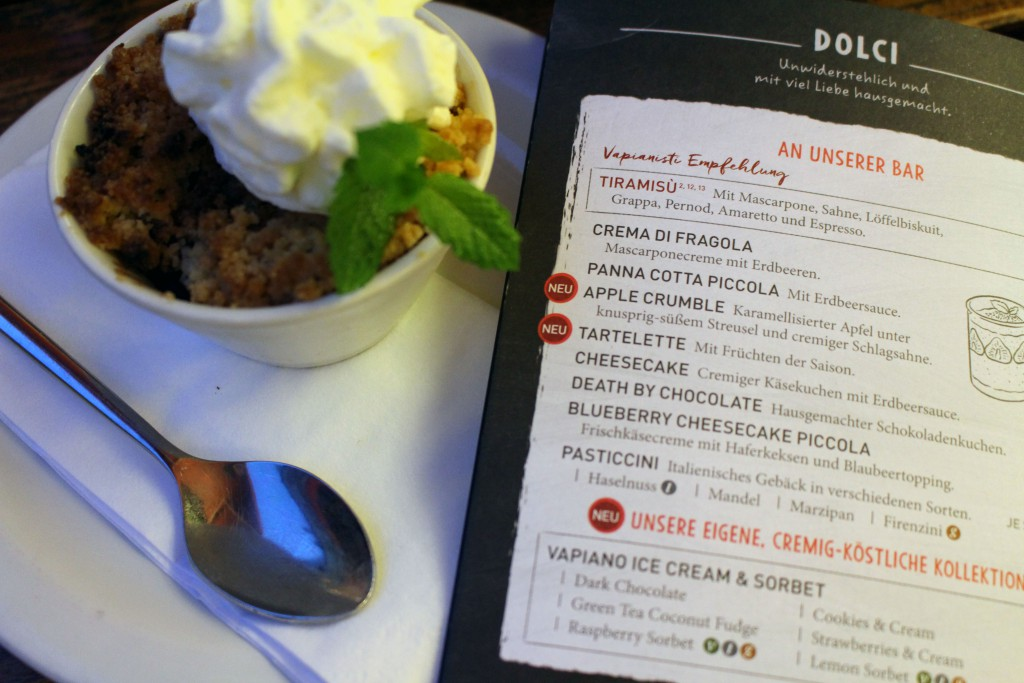 Vapiano, Speisekarte, 2016, Dessert, Apple Crumble