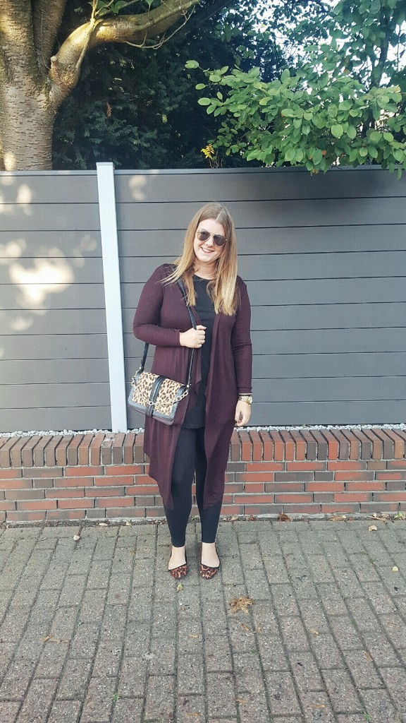 Tasche, Bag, Limited Edition, Herbst, Primark, Leo, Gold, Print, Materialmix, Outfit, Cardigan, Longshirt, Accessoires, Ballerinas