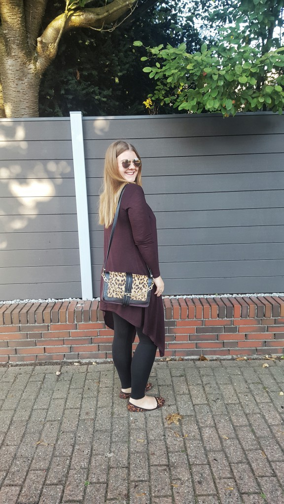 Tasche, Bag, Limited Edition, Herbst, Primark, Leo, Gold, Print, Materialmix, Outfit, Cardigan, Ballerinas, Sonnenbrille