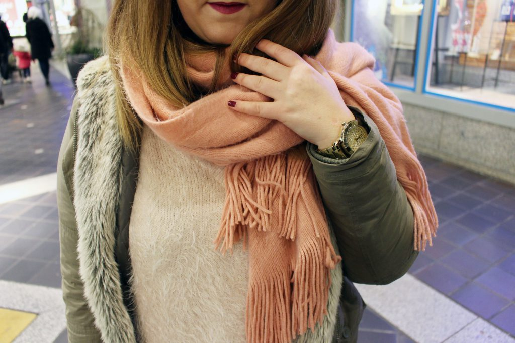 Winter, City, Look, rosa, bordeaux, Fashion, Mode, Pullover